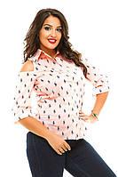 Женская рубашка с открытыми плечами и коротким рукавом больших размеров