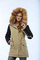 Парка женская зимняя комбинированная П-11 с капюшоном и опушкой из натурального меха  Blue Frost Fox.