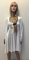 Халат с кружевом белый для невесты однотонный и ночная рубашка