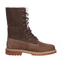 Зимние женские ботинки Timberland Teddy Fleece (Тимберленд) с мехом коричневые