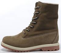 Женские зимние ботинки Timberland Teddy Fleece (Тимберленд) с мехом коричневые