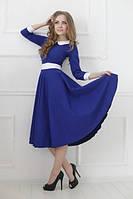 Платье миди  с расклешенной юбкой, воротничком и манжетами