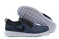 Кроссовки мужские беговые Nike Roshe Run Flyknit London Blue (найк роше ран, оригинал) черные