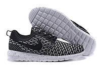 Кроссовки мужские беговые Nike Roshe Run Flyknit London Black (найк роше ран, оригинал) черные