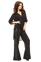 Женский брючный костюм с шифоновой туникой и брюками-клеш