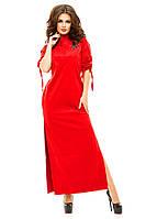 Женское длинное платье прямое из экозамши