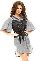 Женское короткое платье-рубашка с корсетом из гипюра