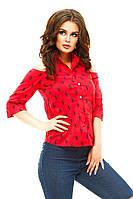 Женская рубашка рукавом три четверти и открытыми плечами