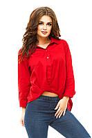 Женская ассиметричная коттоновая блузка-туника
