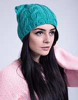 Вязаная женская шапка с ушками  3032 (мята)