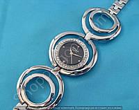 Часы Omax AB01 114299 серебристые с черным женские диаметр 3,2 см на браслете кварцевый механизм Япония