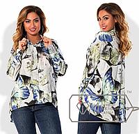 Удлиненная женская блуза из штапеля, батал ( р. 50-56 )