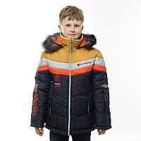 Детская зимняя  куртка на меховой подстежке для мальчика, подростка Монстр