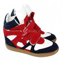 Сникерсы зима Sneakers Isabel Marant (Изабель Марант) сине-бело-красные, Красный, 40