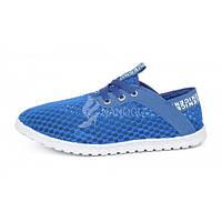 Кеды мужские сетка светло-синего цвета на шнуровке «Nice», Голубой, 44
