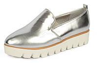 Туфли слипоны женские на тракторной подошве Twist серебро TM Vices, Серебряный, 41
