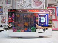 Ночник аквариум с часами и зеркальной рамкой