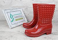 Резиновые сапоги женские красные с шипами Valentino, Красный, 41