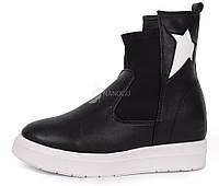 Ботинки слипоны женские завышенные на белой платформе Stars, Черный, 36