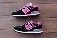Женские кроссовки New Balance 574 Black Pink