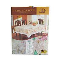 Скатерть шелкография цветная с кружевом Tablecloth 120х152