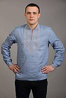 Мужская вышитая рубашка тон голубой и белый