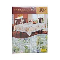 Скатерть шелкография Tablecloth цветная с кружевом 137х183