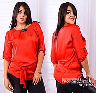 Женская красивая шелковая блузка / батал / красная