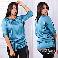 Женская красивая шелковая блузка / батал / голубая
