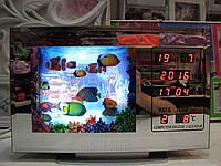 Ночник аквариум с рыбками с календарем и часами
