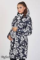 Стильное двухстороннее пальто для беременных Kristin, темно-синее с белыми цветами