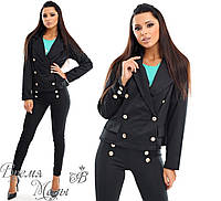4490 - Брючный женский костюм. Чёрный.