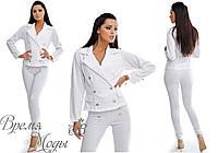 4491 - Белый брючный женский костюм.