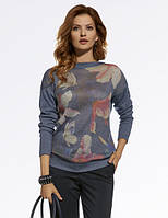 Женский свитер синего цвета с цветочным рисунком. Модель 220022 Enny, коллекция осень-зима 2016-2017.