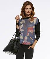 Женский теплый свитер с цветочным рисунком. Модель 220023 Enny, коллекция осень-зима 2016-2017.