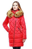 Модная качественная куртка на зиму стеганная с утеплителем синтепух мех енот в расцветках