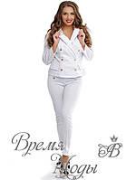4495 - Белый брючный костюм. р. 48-50, 52-54