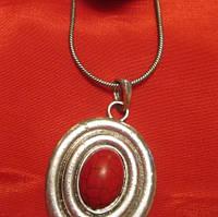 Колье цепочка подвеска под серебро красный камень