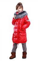 Модная детская куртка для девочки на зиму с меховым воротником чернобурка в ярких цветах