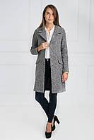 Дизайнерское пальто женское с большим английским воротником карманы-обманки