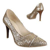 Женские туфли оригинального цвета из натуральной кожи, с острым носком и высоким каблуком, экстравагантный дизайн (0-5447)