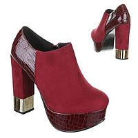 Женские туфли Вишневого цвета, с круглым носком на платформе, задником из лакированойкожи и высоким каблуком, отличный вариант для модной вечеринки