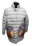 Женская куртка кожзам с натуральным мехом