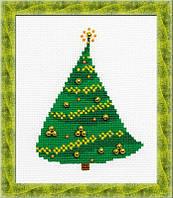 Набор для вышивания крестом «Елочка с золотыми шариками» (1232), Риолис