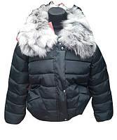 Женская куртка холофайбер натуральный мех