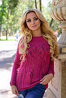Яркий женский свитер крупная вязка косичка размеры С М Л