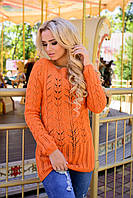 Женский свитер крупная вязка оригинальное плетение косичка размер С М Л