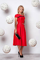 Эффектное красное платье в стиле ретро из высококачественного принтованого жаккарда