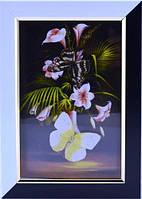 Картина с бабочками в черно-белой рамке 150х210х25