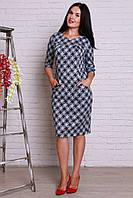 Красивое платье большого размера с модным геометрическим принтом и карманами
